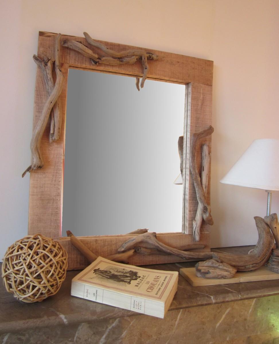 Fabriquer un miroir en bois flott le blog qui r veille for Fabriquer un miroir