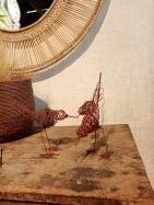 Oiseaux : sculptures en fil de fer