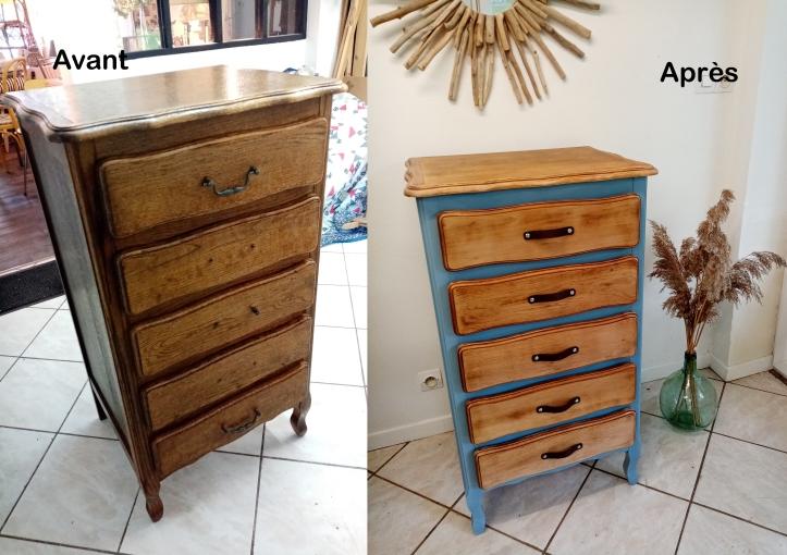 meuble 5 tiroirs avant apres